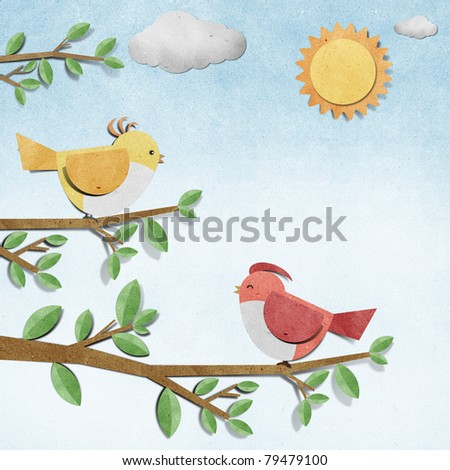 bird recycled  paper craft stick on grunge paper background - stock photo