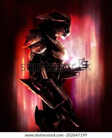 Bird robot warrior. Scifi fantasy robotic creature. - stock photo