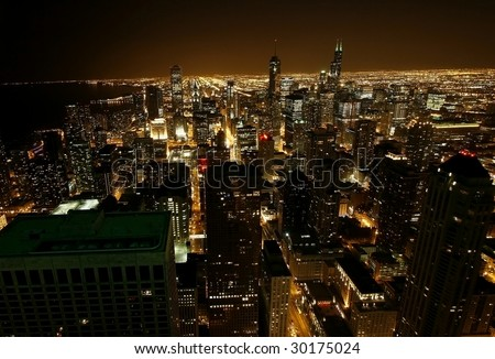 Bird's eye Chicago night - stock photo