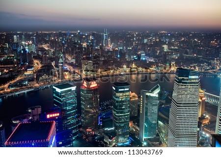 bird's-eye view beautiful night view of shanghai - stock photo