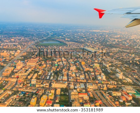 Bird's-eye view  from Bangkok flights