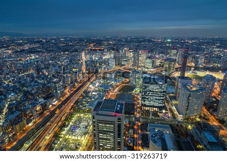 Bird's eye view from Yokohama landmark showing the Yokohama Bay and Cosmo world - stock photo