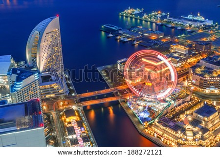 Bird's eye view from Yokohama landmark showing the Yokohama Bay and Cosmo world, at the near end, the famous amusement park in Yokohama city/ Yokohama Bay/Yokohama Bay - stock photo