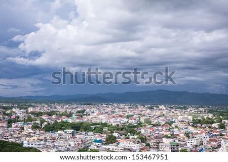 bird's eye view, Mae Sai, Chiangrai North of Thailand - stock photo