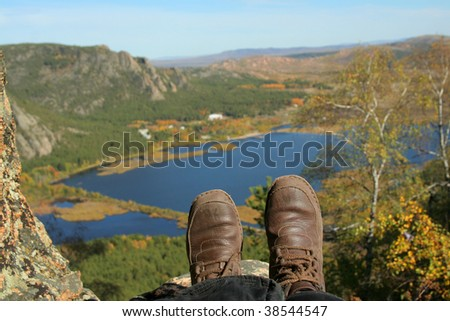 Bird's Eye View of a  lake - stock photo