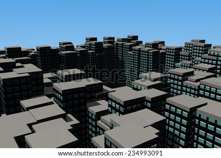 bird's eye view of a the roofs a sky scrapers in a metropolis - stock photo
