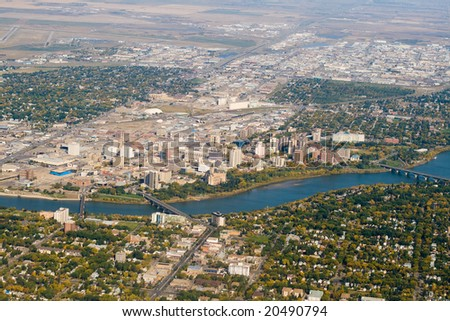 Bird's eye view of downtown Saskatoon - stock photo