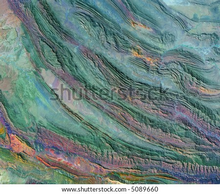 Bird's-eye view of folded mountains in southern Afghanistan - stock photo