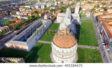 Bird's eye view of Miracle Square in Pisa, Italy. - stock photo