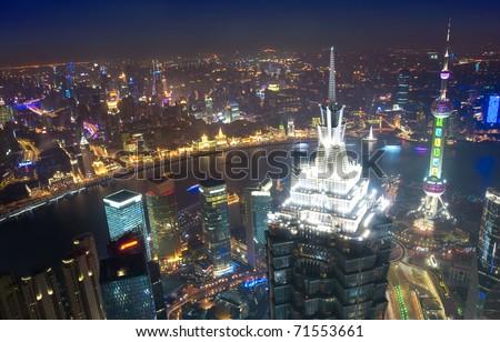 Bird's eye view of Shanghai at night - stock photo