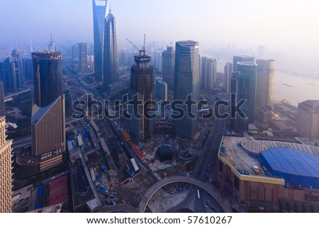 Bird's eye view of Shanghai Pudong . - stock photo
