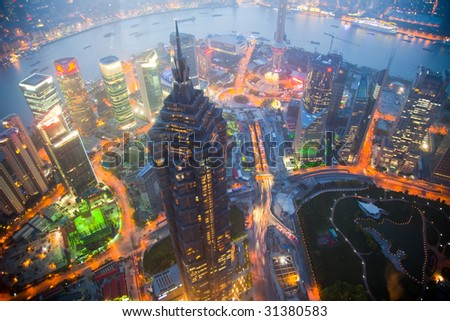 Bird's eye view of Shanghai Pudong at night - stock photo