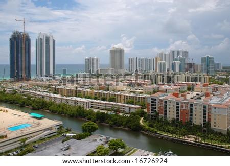 Bird's-eye view of Sunny Isles Beach and intercoastal, Florida - stock photo