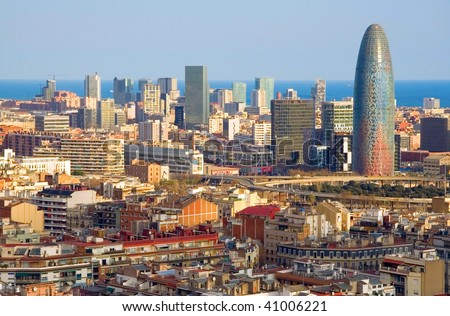Bird's eye view of the Agbar Tower in Barcelona (Spain) - stock photo