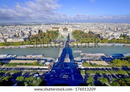 Bird's eye view of the Eiffel tower's shadow, the Trocadero place and the city of Paris ,France. - stock photo