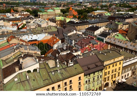 Bird's-eye view of the old town of Kracow, Poland. - stock photo
