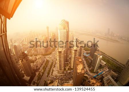 Bird's eye view of the scene of major cities. - stock photo
