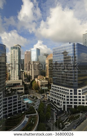 bird's eye view of Vancouver downtown highrise - stock photo