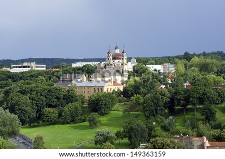Bird s eye view of Vilnius, Lithuania - stock photo