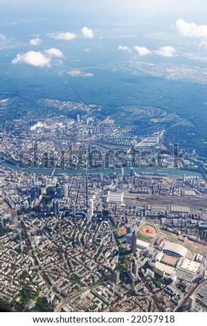 bird's-eye view the landscape of europe city - stock photo