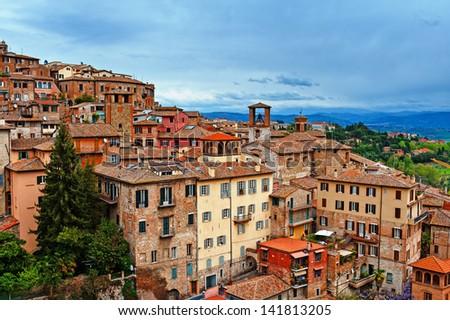 Bird's Eye View to Historic Center City of Perugia, Italy - stock photo