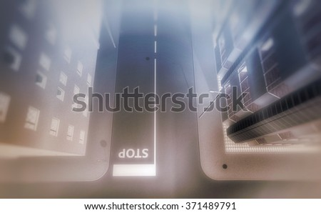 Bird's eyes view in perspective of an urban street and buildings facades in the mist - stock photo