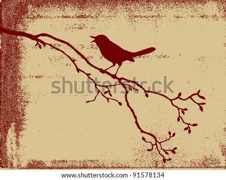 bird silhouette on grunge background - stock photo