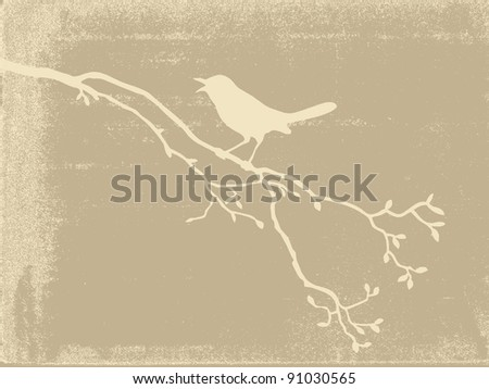 bird silhouette on old paper - stock photo