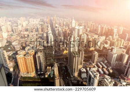 Bird view at Shanghai China.  - stock photo