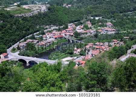 Bird view of Asenov district of Veliko Tarnovo in Bulgaria in the summer - stock photo