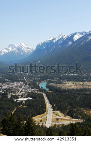 Bird view of banff town and bow valley in banff national park, alberta, canada