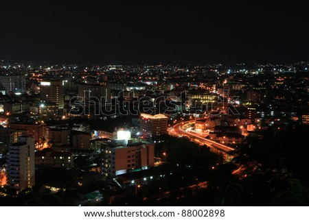 Bird View of buildings in Pattaya City at night, famous tourist attraction in Thailand