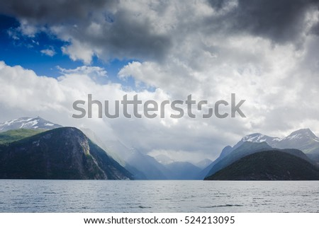 Bird view of fjord in Norway