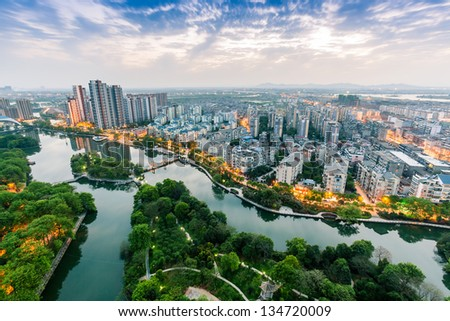 bird view of Fuzhou city at night - stock photo