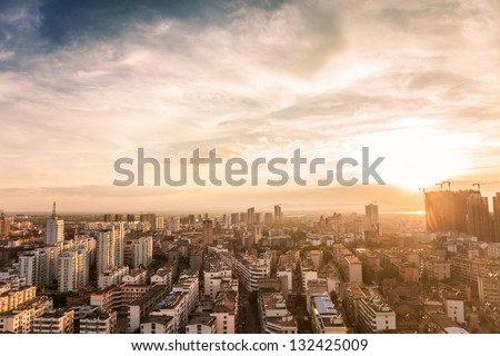 bird view of fuzhou city with lots of buildings - stock photo