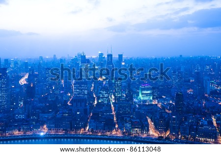 Bird view of Shanghai financial center, China. - stock photo