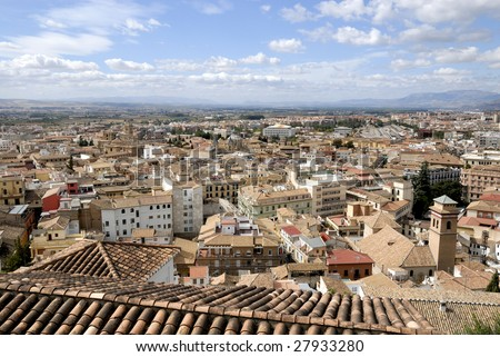 Bird view of the Albaicin in Granada as seen from Alhambra towers, Andalusia, Spain