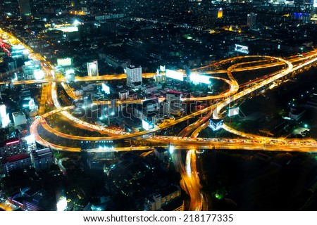 bird view of urban city traffic light trail  - stock photo