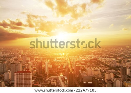 bird view of urban cityscape at sunset