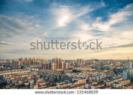bird view over city of Fuzhou Jiangxi Province, China - stock photo