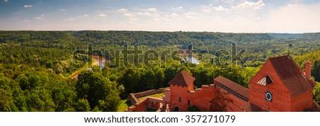 Bird views of Turaida castle. Sigulda, Latvia - stock photo