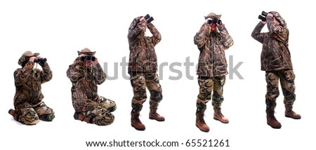Bird watcher wearing camouflage standing in various positions - stock photo