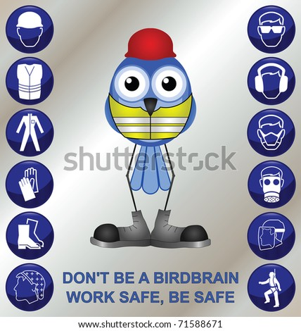 Bird with construction health and safety message - stock photo