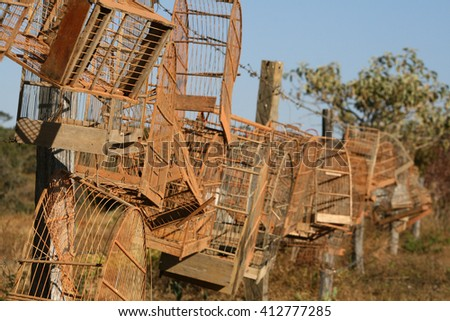 Birdcages captured by the Environmental Police - stock photo