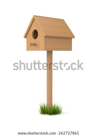 Birdhouse isolated on white. May be inhabited by birds - stock photo