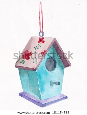Birdhouse, watercolor - stock photo