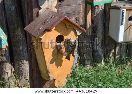 Birdhouses, the houses for birds. Decorated birdhouses and ornamented. - stock photo