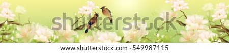 birds and flowers on green background horisotnal panoramic art
