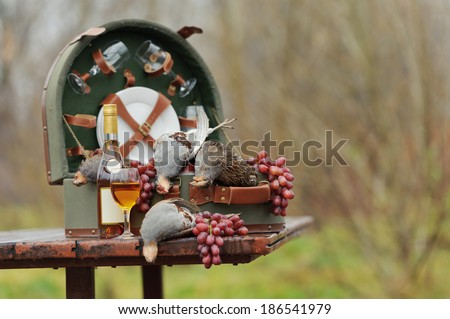 birds and hunting accessories, horizontal, outdoors - stock photo