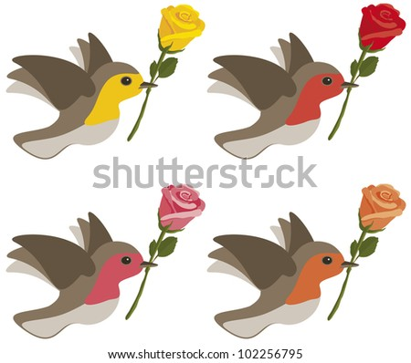 Birds carrying yellow, red, pink and orange roses isolated on white.